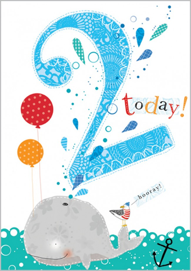 Age 2 - Whale Birthday Card