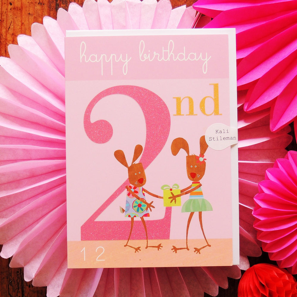 Age 2 - Two Rabbits Birthday Card