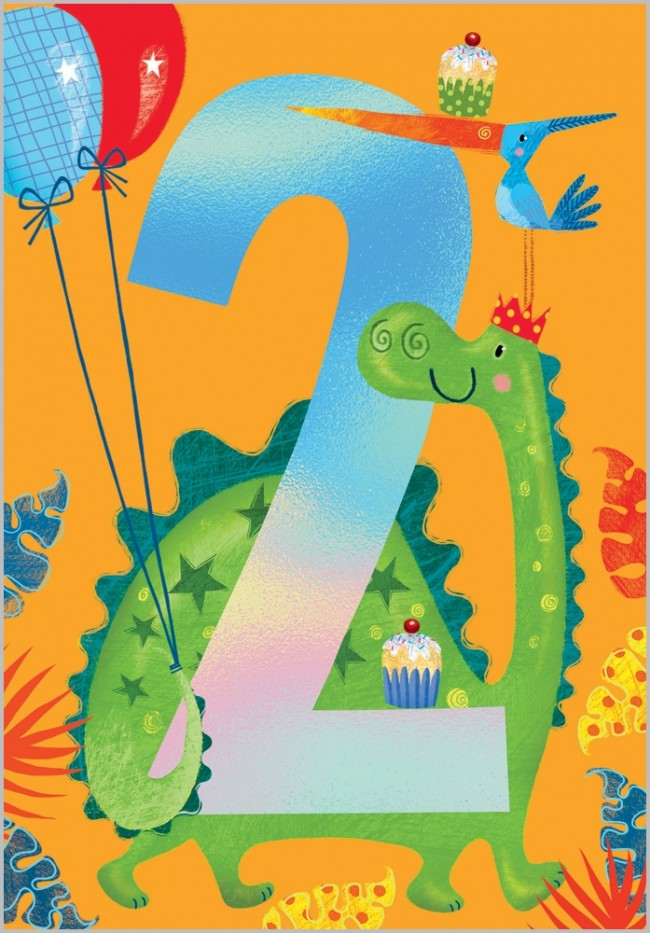 Load image into Gallery viewer, Age 2 - Dinosaur Birthday Card