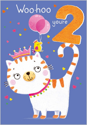 Age 2 - Cat Birthday Card
