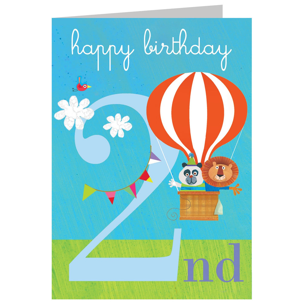 Age 2 - In a Ballon Birthday Card