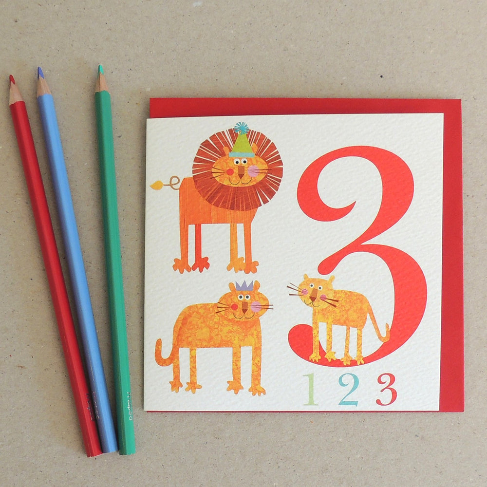 Age 3 - Three Lions Birthday Card