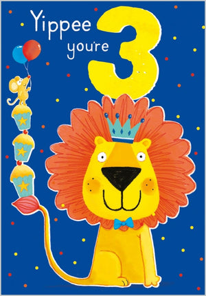 Age 3 - Lion Birthday Card
