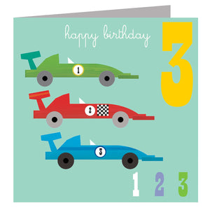 Age 3 - Three Racing Cars Birthday Card