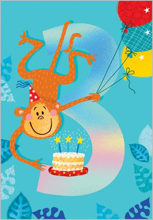 Load image into Gallery viewer, Age 3 - Monkey Birthday Card