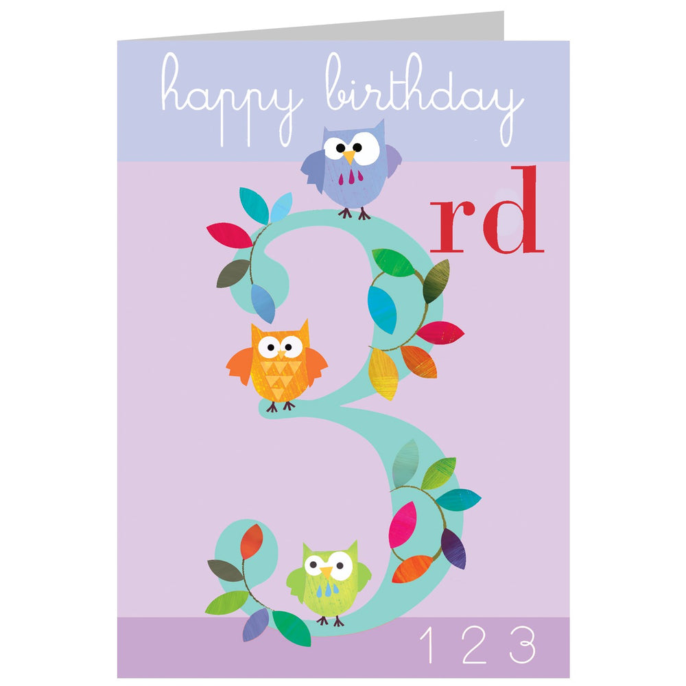 Age 3 - Three Owls Card