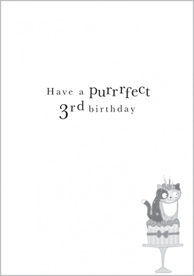 Age 3 - Cat Birthday Card