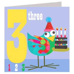 Load image into Gallery viewer, Age 3 - Bird Count Birthday Card