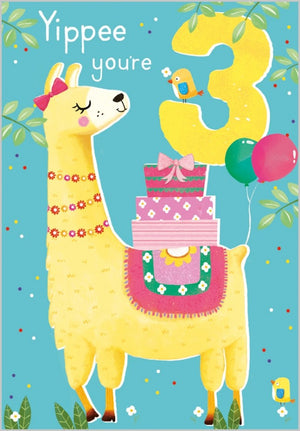Load image into Gallery viewer, Age 3 - Llama Birthday Card