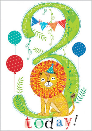 Load image into Gallery viewer, Age 3 - Lion Birthday Card