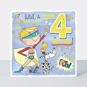 Age 4 - Boy Superhero Birthday Card