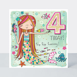 Load image into Gallery viewer, Age 4 - Mermaid Birthday Card
