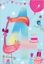 Age 4 - Flamingo Birthday Card