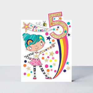 Age 5 - Starburst Birthday Card