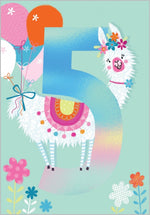 Age 5 Llama - 5th Birthday Card