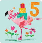 Age 5 - Funky Flamingo Birthday Card