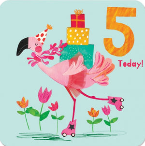 Load image into Gallery viewer, Age 5 - Funky Flamingo Birthday Card
