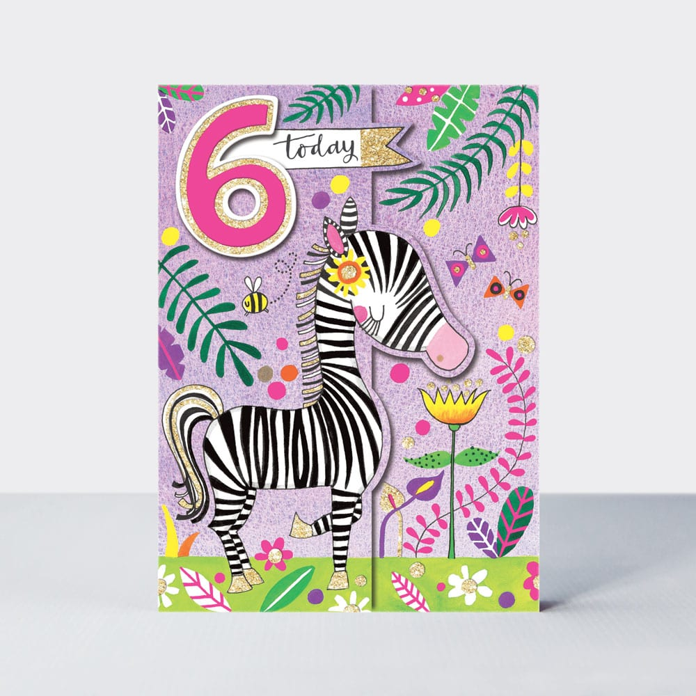 Age 6 - Zebra Birthday Card