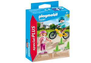 Playmobil - Children with Skates and Bikes