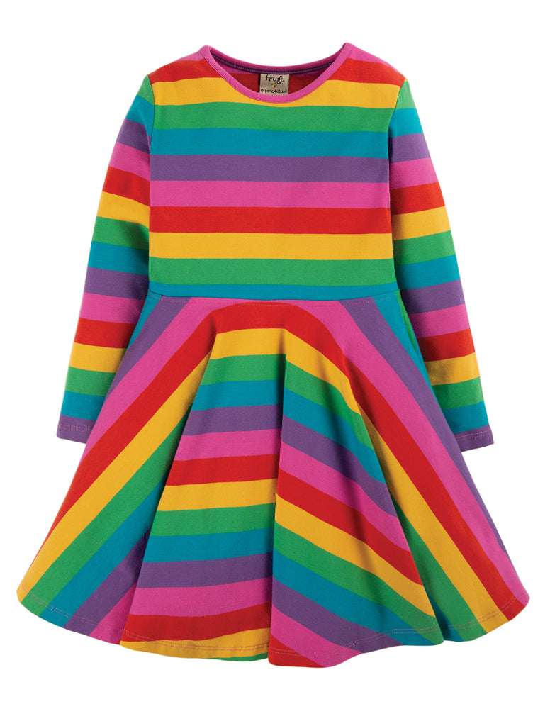 Frugi - Sofia Skater Dress: Foxglove Rainbow Stripe