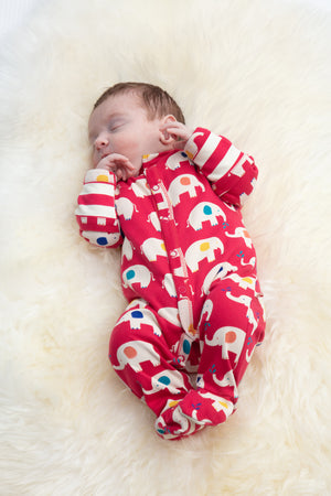 Load image into Gallery viewer, Piccalilly Elephant Footed Sleepsuit