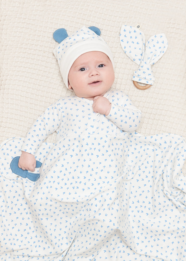 The Bonniemob - Sleepy Zip Sleepsuit, Blue