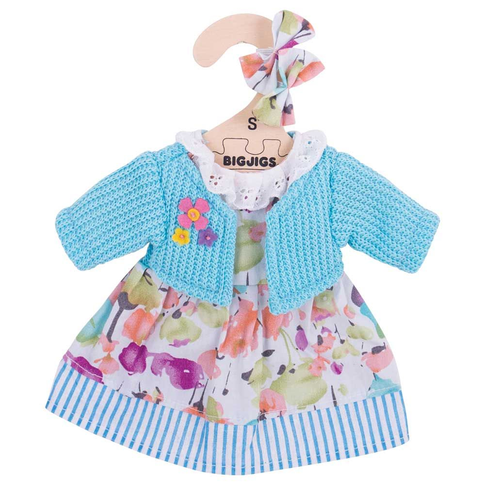 Bigjigs - Blue Floral Dress with Cardigan (for 28cm Doll)