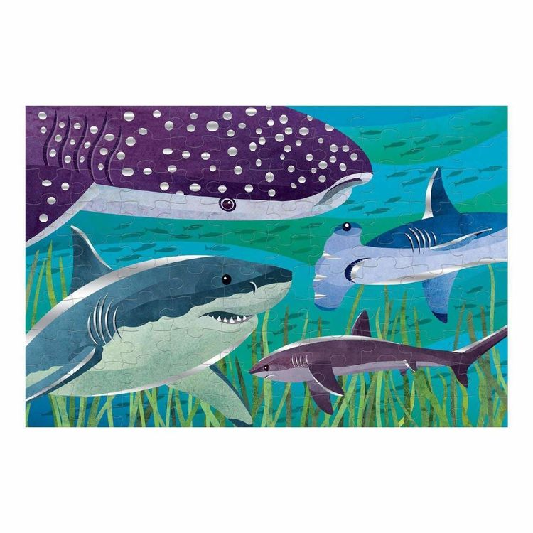 Mudpuppy - 100 Piece Foil Shark Puzzle