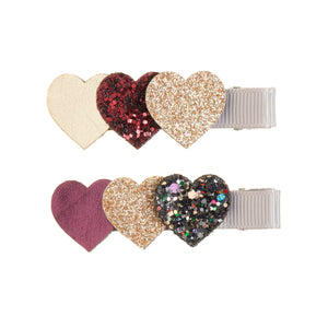 Mimi and Lula - Heart Burst Clips; Red