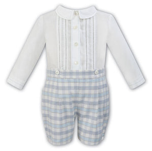 Load image into Gallery viewer, Sarah Louise Traditional Short Set - Ivory/blue