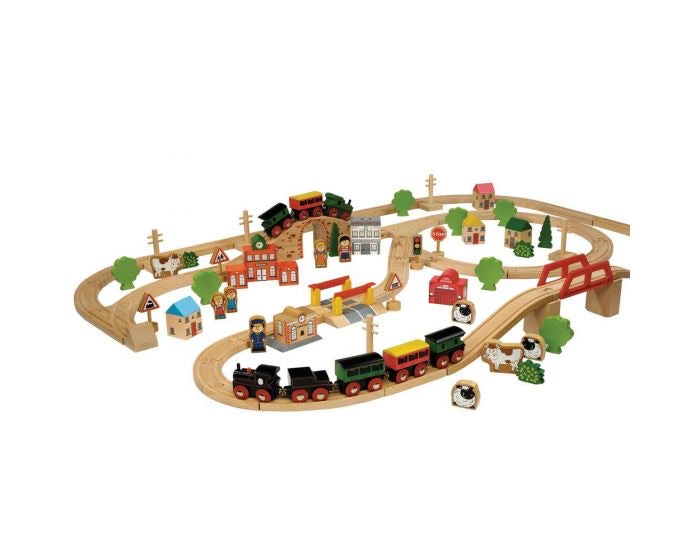 Tidlo - 100 Pc Wooden Train Set