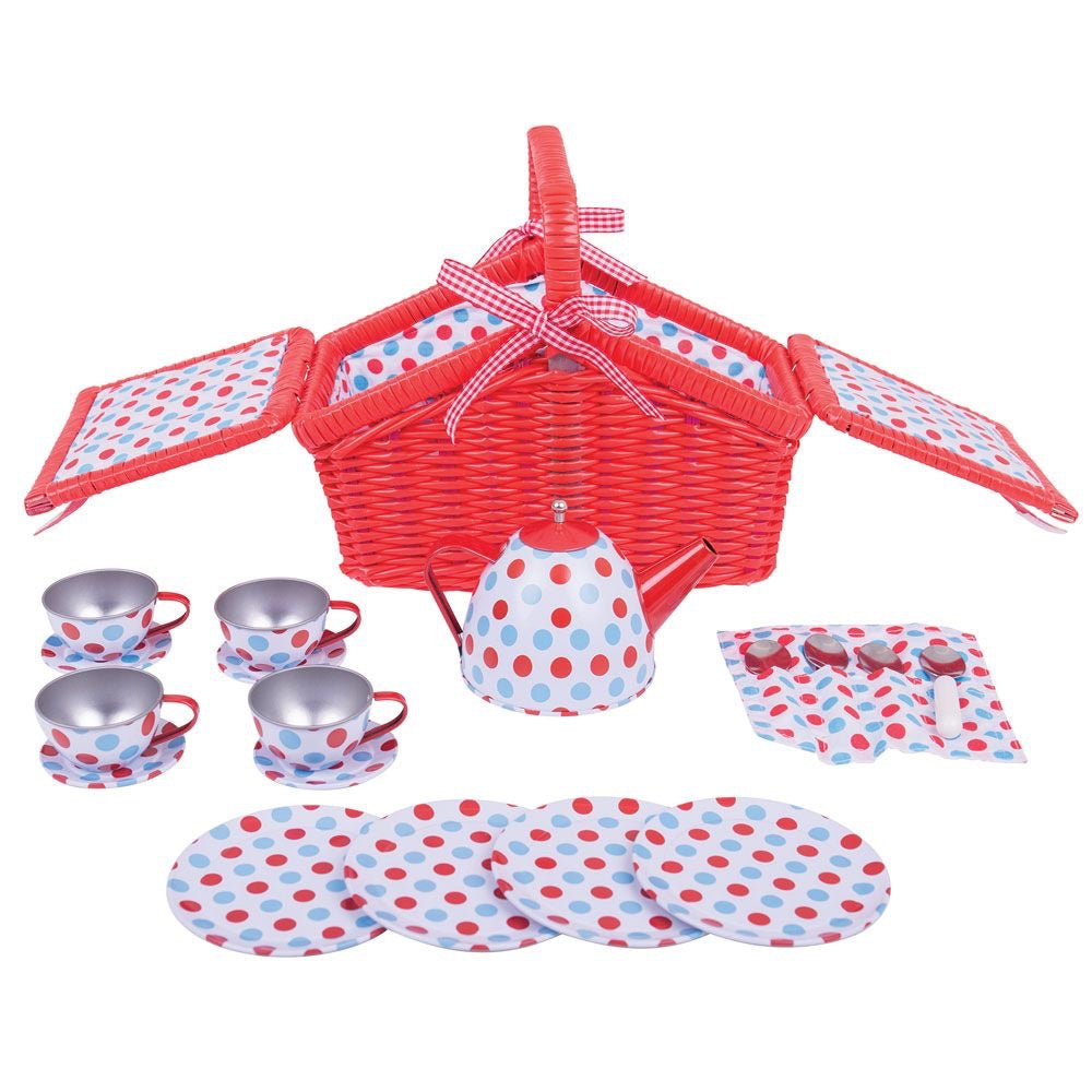 Bigjigs - Spotted Basket Tea Set