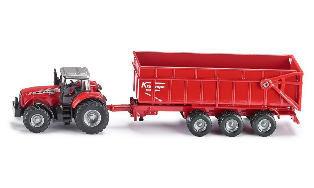 Siku 1:87 Massey Ferguson Tractor with Trailer 1844