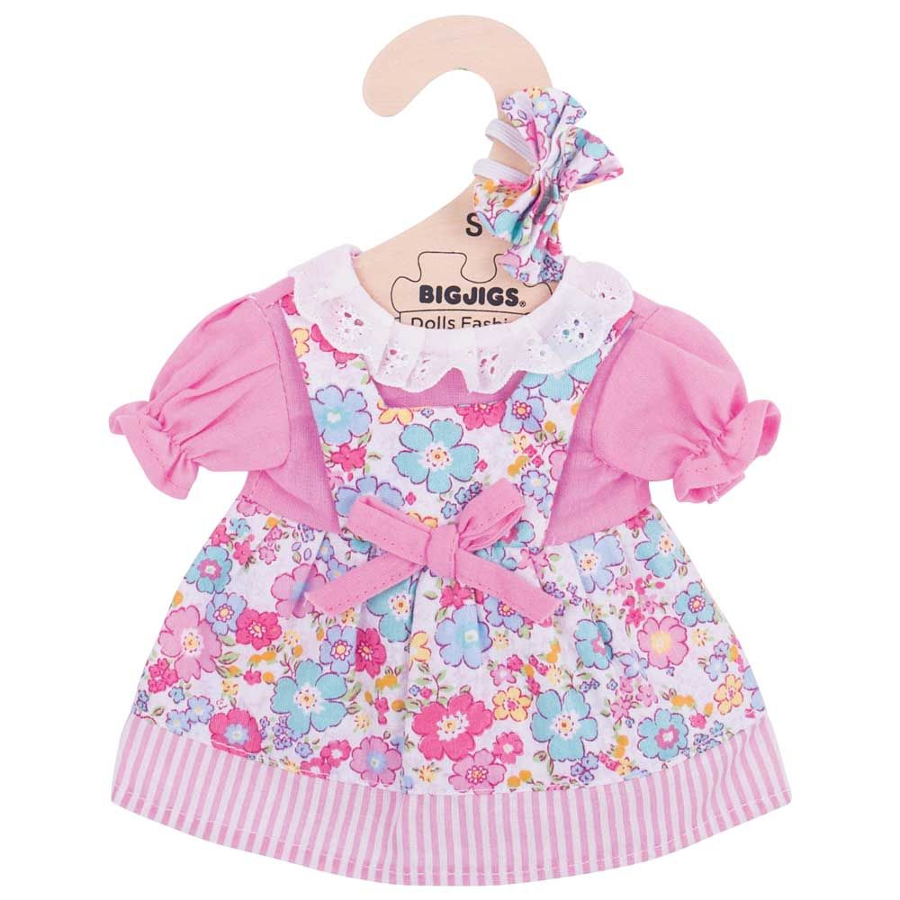 Load image into Gallery viewer, Bigjigs - Pink Floral Dress (for 28cm Doll)