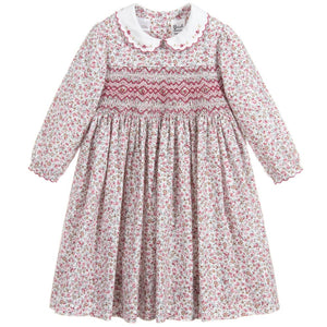 Sarah Louise Pink Hand-Smocked Cotton Dress