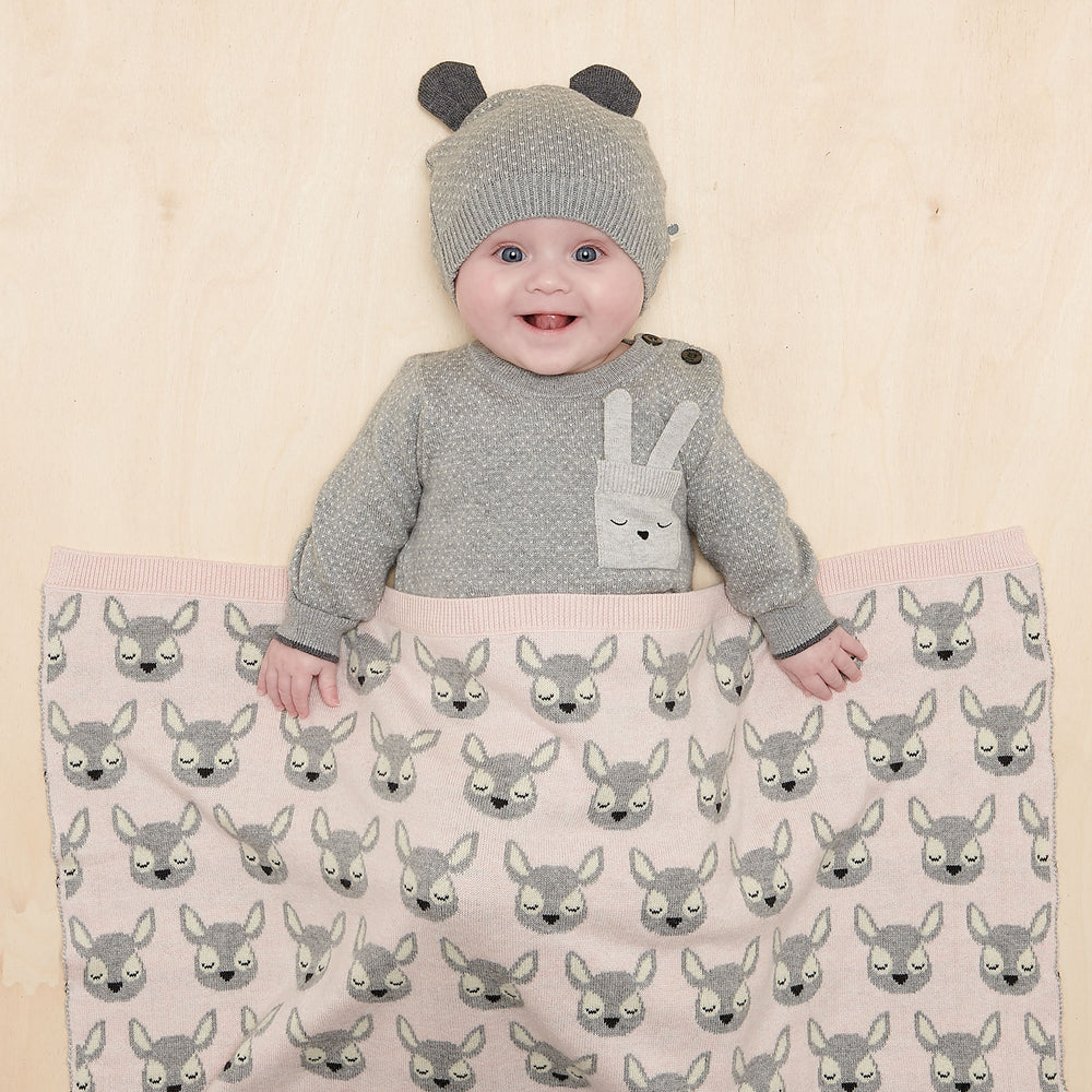 The Bonnie Mob - Birch Baby Deer Jaquard Blanket; Pink