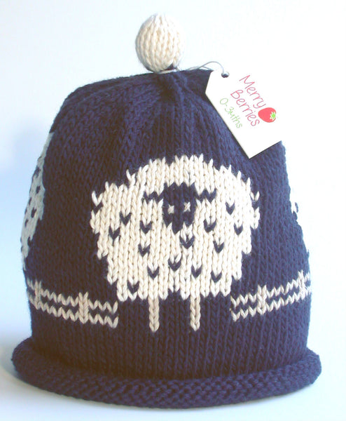 Merry Berries Navy 'Sheep' Hat
