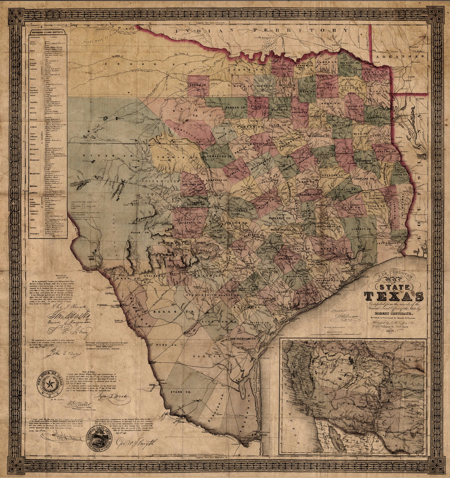 State Map of Texas 1856