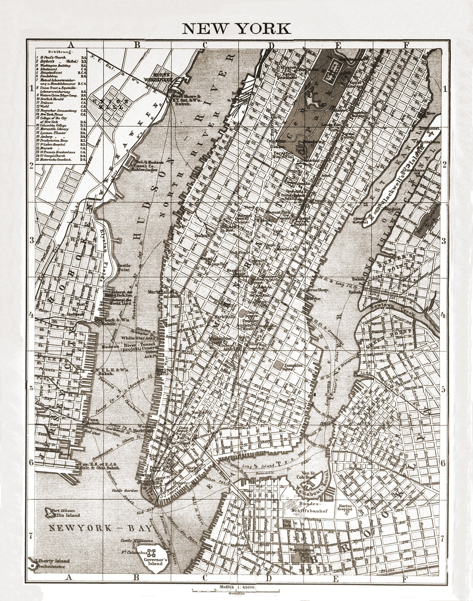 S City Lithograph Map Of New York - New york map restoration hardware