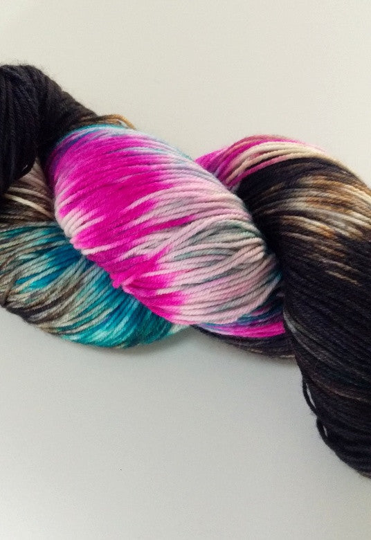 Superwash Merino / Nylon, 4 ply (sock), 100g - Licorice Confetti (Batch 2)