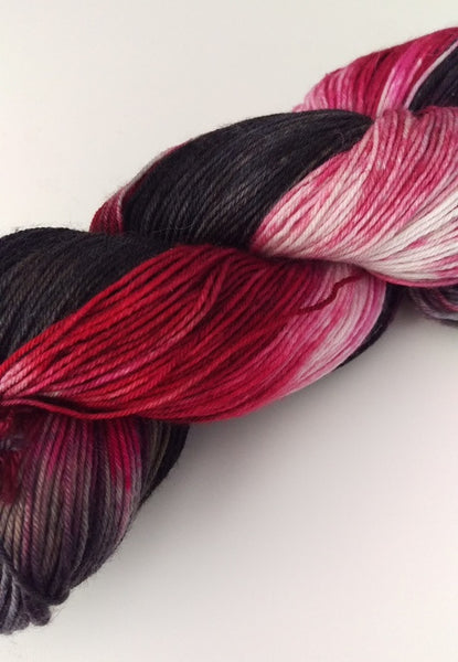 Superwash Merino / Nylon, 4 ply (sock), 100g - Charcoal Cherry