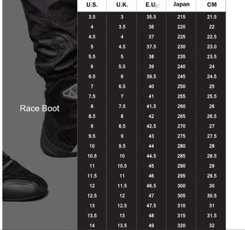 race boot sizes