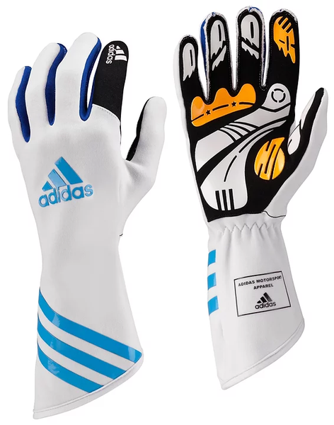 Adidas XLT Kart Gloves White/Cyan/Blue