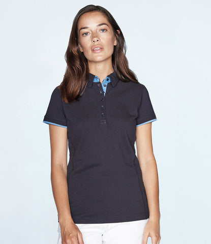 Front Row Ladies Contrast Cotton Pique Polo Shirt