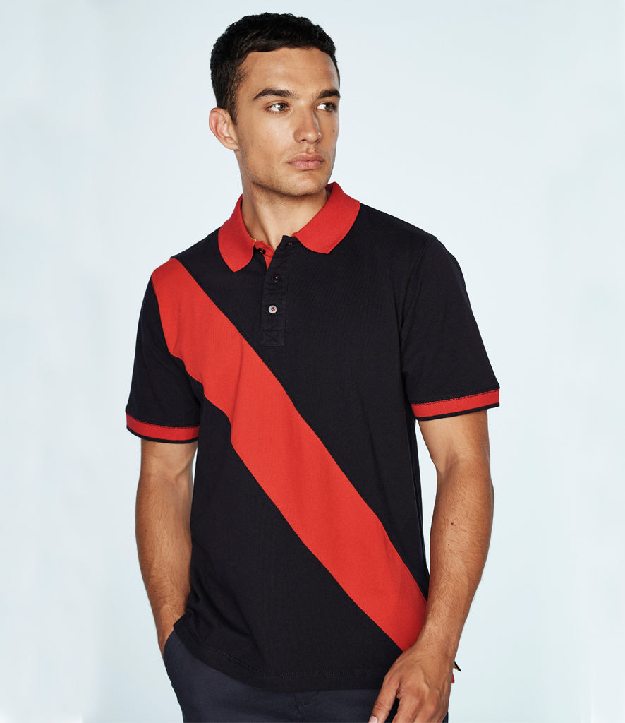 Front Row Diagonal Stripe Cotton Pique Polo Shirt