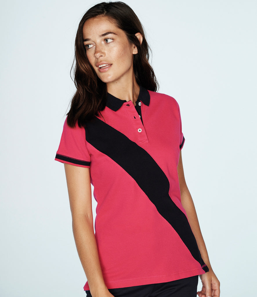 Front Row Ladies Diagonal Stripe Cotton Pique Polo Shirt