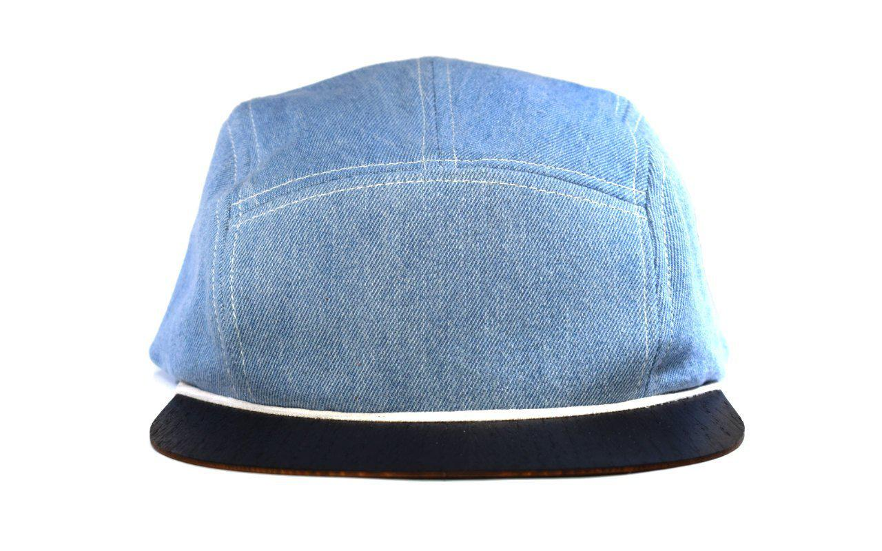 5 Panel Cap Snapback blau Denim mit Holzschirm Made in Germany Lou-i