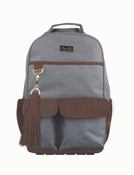 Itzy Ritzy Boss Diaper Backpack in Handsome Heather Gray