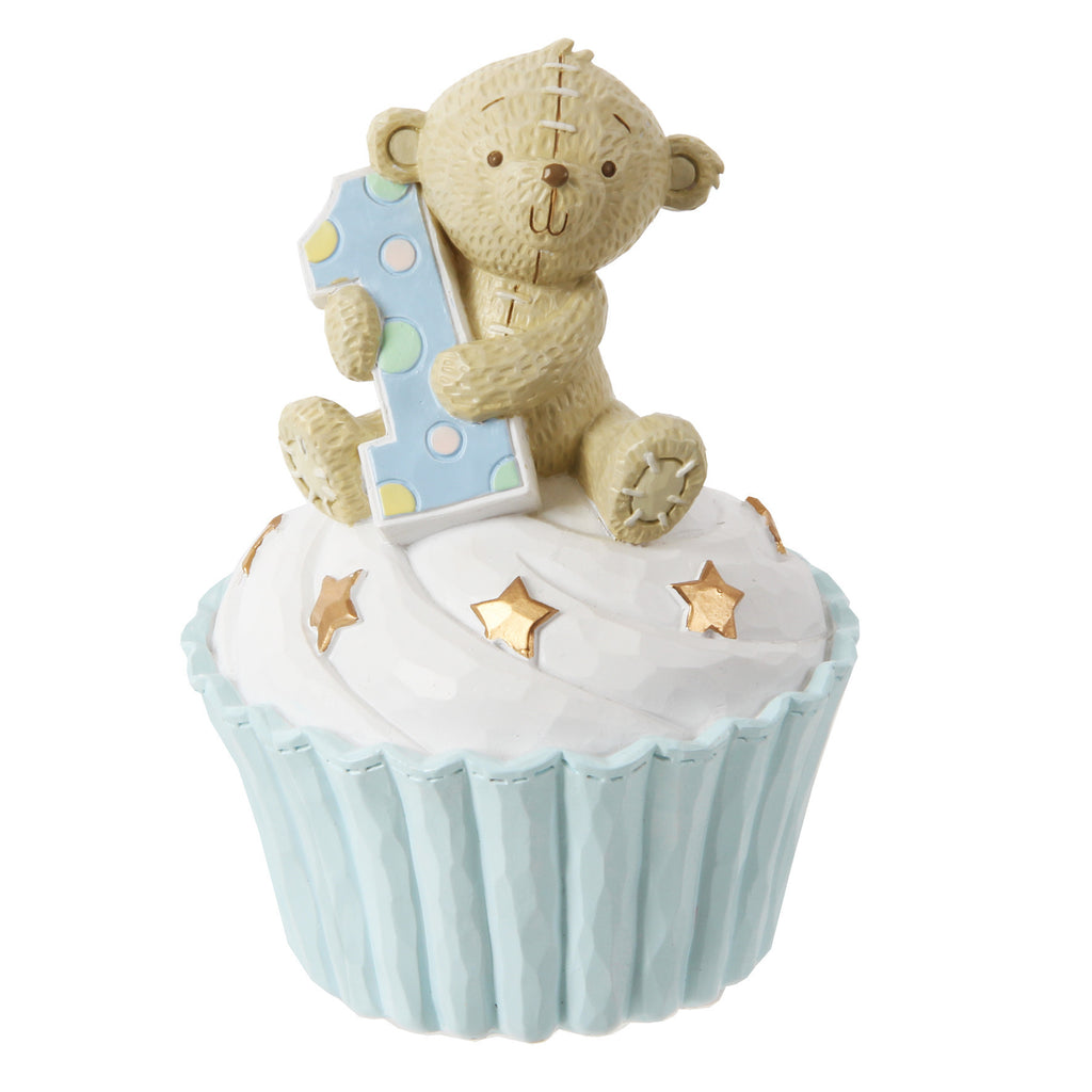 Button Corner 1st Birthday Blue Cupcake Money Bank