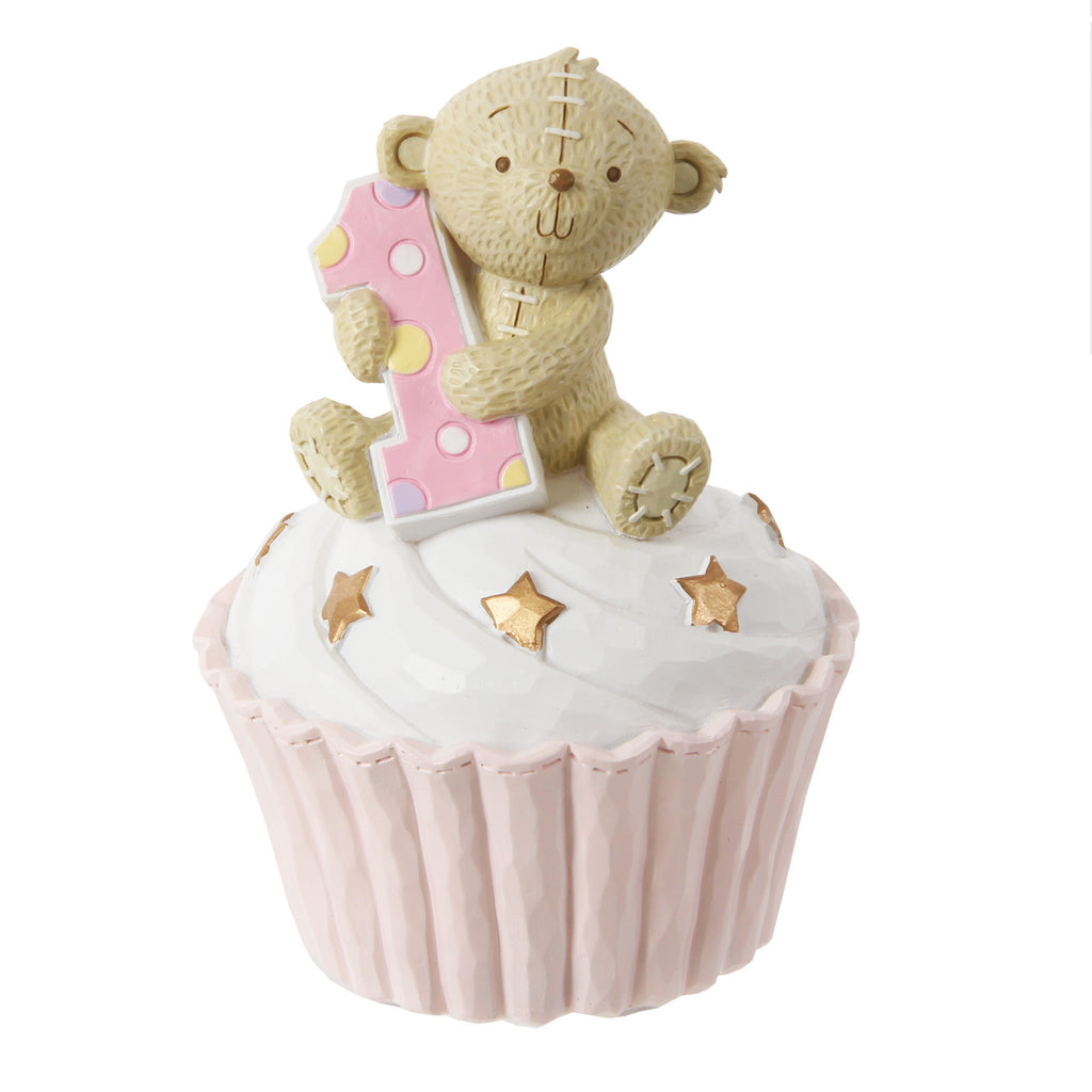 Button Corner 1st Birthday Pink Cupcake Money Bank